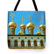 Onion Domes On Churches Of The Nativity And Deposition Of The Robe Inside Kreml Tote Bag