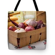 Onions And Garlic In A Crate Tote Bag