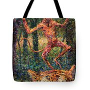 Only A Crazy Monkey Dances On A Tiger's Head Tote Bag by James W Johnson
