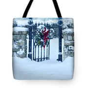 Open Gate In Snow With Wreath Tote Bag