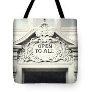 Open To All Tote Bag by Lisa Russo