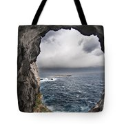A Natural Window In Minorca North Coast Discover Us An Impressive View Of Sea And Sky - Open Window Tote Bag