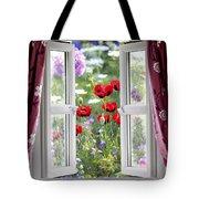 Open Window View Onto Wild Flower Garden Tote Bag