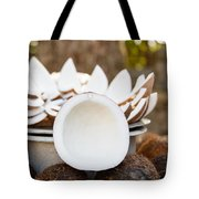 Opened Coconuts On The Market Tote Bag