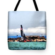 Oracle Team Usa And Alcatraz Tote Bag
