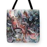 Orang Elblue Black Grey Abstract Landscape Art Tote Bag