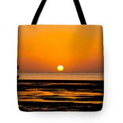 Orange And Black Sunset Abstract Tote Bag