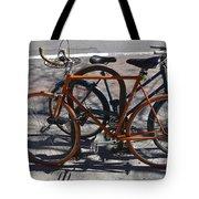 Orange And Blue Bikes Tote Bag