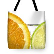 Orange And Lime Slices In Water Tote Bag