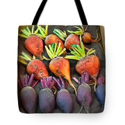 Orange And Purple Beet Vegetables In Wood Box Art Prints Tote Bag