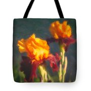 Orange Bearded Irises Tote Bag