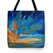 Orange Blue Sunset Landscape Tote Bag by Patricia Awapara