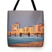 Orange Buildings On The Beach Tote Bag