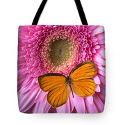Orange Butterfly On Pink Daisy Tote Bag