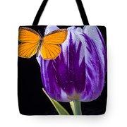 Orange Butterfly On Purple Tulip Tote Bag
