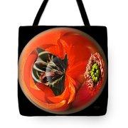 Orange Cactus Flower In A Globe Tote Bag
