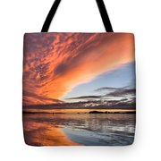 Orange Clouds Over Humboldt Bay Tote Bag