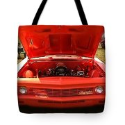 Orange Color Chevrolet Car Tote Bag