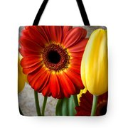 Orange Daisy With Tulips Tote Bag