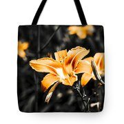 Orange Daylily Flowers On Gray 1 Tote Bag