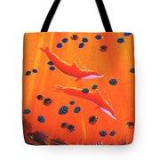 Orange Dolphins Tote Bag
