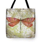 Orange Dragonfly On Vintage Tin Tote Bag