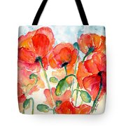Orange Field Of Poppies Watercolor Tote Bag