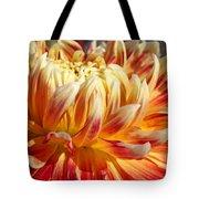 Orange Floral Art Dinner Plate Dahlia Flower Tote Bag