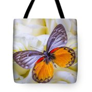 Orange Gray Butterfly Tote Bag