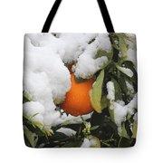 Orange In Snow Tote Bag