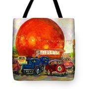 Orange Julep With Antique Cars Tote Bag by Carole Spandau