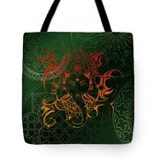 orange Lord Ganesha on green Mandala Tote Bag