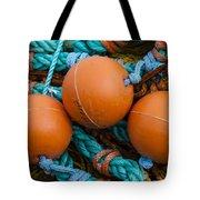 Orange Net Floats Tote Bag by Carol Leigh