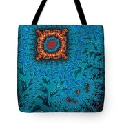 Orange On Blue Abstract Tote Bag
