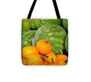 Orange On Green Tote Bag