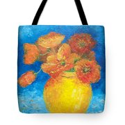 Orange Poppies In Yellow Vase Tote Bag