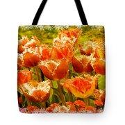 Orange Princess Fringed Tulips Tote Bag