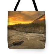 Orange Sunset On Sluice Box Rapids Tote Bag