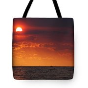 Orange Sunset Over Oyster Bay Tote Bag