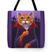 Orange Tabby Vampire Cat Tote Bag