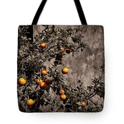 Orange Tree On Rustic Background Tote Bag