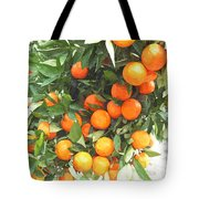Orange Trees With Fruits On Plantation Tote Bag
