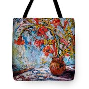Orange Trumpet Flowers Tote Bag