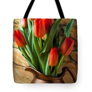 Orange Tulips In Copper Pitcher Tote Bag by Garry Gay