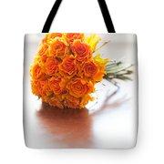 Orange Wedding Bouquet Roses Tote Bag