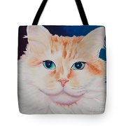 Orange White Cat Portrait Tote Bag