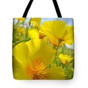 Orange Yellow Poppy Flowers Meadow Art Tote Bag