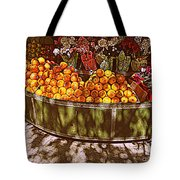 Oranges And Flowers Tote Bag