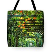 Oranges And Lemons On A Green Trellis Tote Bag