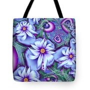 Orbiting Hearts And Flowers Tote Bag by Peggi Wolfe